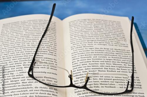 Brille und Buch Poster