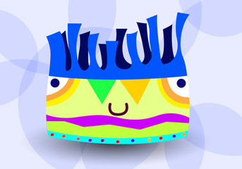 cheerful smiling colored extraterrestrial monster