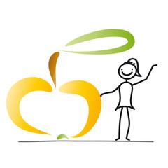 Strichfigur - Frau mit Apfel