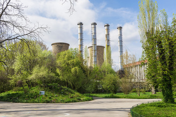Power plant in spring green landscape