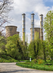 Power plant in spring landscape