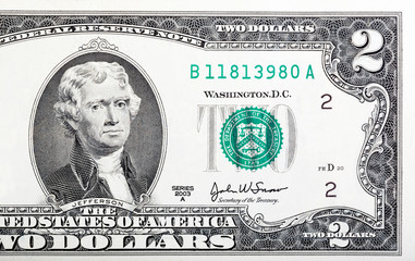 Two dollar bill issued in 2003 in US.