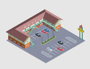 illustration isometric Motel