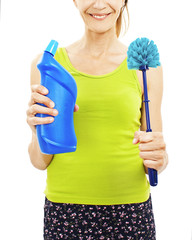Women with toilet brush. Woman is unrecognizable.