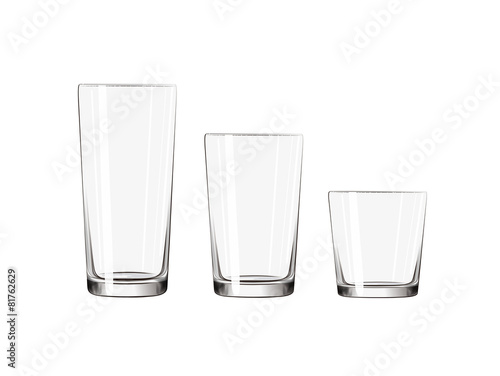 Transparent big, medium small glass set isolated composition. - 81762629