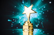 canvas print picture - gold star trophy against blue sparks background