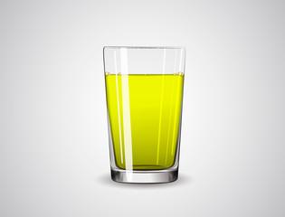 Glass full of yellow liquid / juice