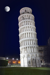 Leaning Tower of Pisa in the night