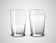 Empty glass and glass full of water. Glasses - 81763697