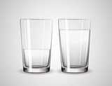 Empty glass and glass full of water. Glasses
