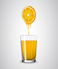 Orange Juice From Orange Into Glass
