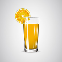 Glass with orange juice and orange slice.