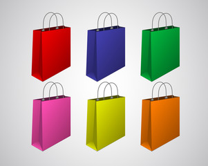 Set / Collection classic empty colorful shopping bag.
