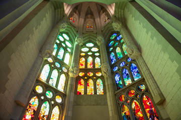 Sagrada Familia, interior view in Barcelona, Spain.