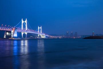 The Gwangan Bridge at dusk Busan, South Korea.
