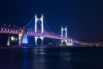 The Gwangan Bridge at night, Busan, South Korea.