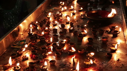 Burning candles in the Indian temple. Diwali - the festival of l