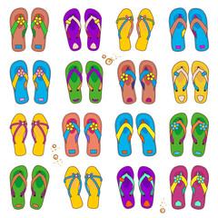 Design elements - colorful beach flip-flops