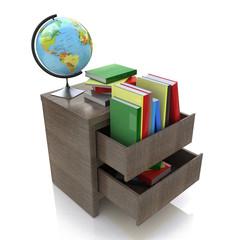School education concept. Textbooks, globe. 3d