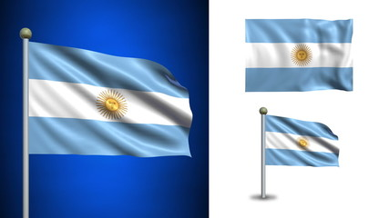 Argentina flag - with Alpha channel, seamless loop!