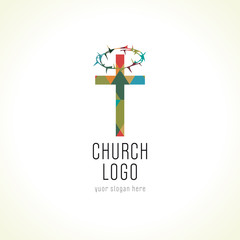 Church cross crown of thorns logo