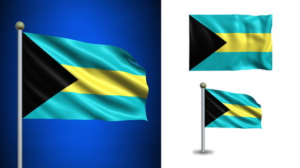 Bahamas flag - with Alpha channel, seamless loop!