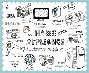 Hand drawn electronic product set