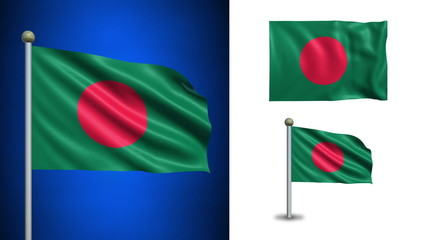 Bangladesh flag - with Alpha channel, seamless loop!