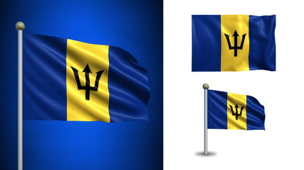Barbados flag - with Alpha channel, seamless loop!