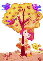 Girl, tree and birds
