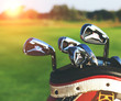 Golf clubs drivers over green field background - 81765498