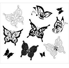 Silhouette of butterflies