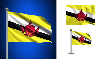 Brunei flag - with Alpha channel, seamless loop!