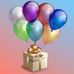 Vector abstract birthday party card with gift box and balloons