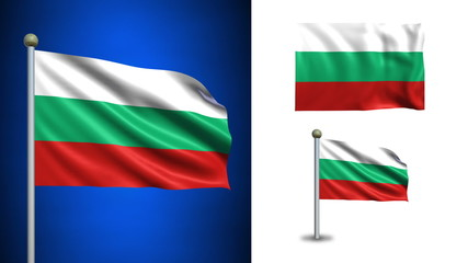 Bulgaria flag - with Alpha channel, seamless loop!
