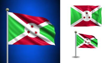 Burundi flag - with Alpha channel, seamless loop!