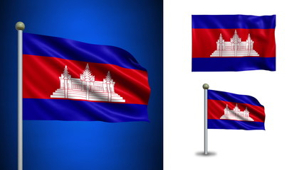 Cambodia flag - with Alpha channel, seamless loop!