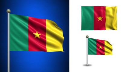 Cameroon flag - with Alpha channel, seamless loop!