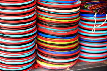 Piles of colorist plastic discs. Lhasa-Tibet. 1315