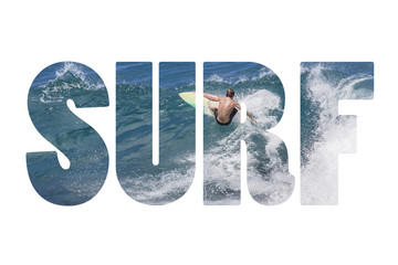 Word SURF riding giant ocean wave in Hawaii