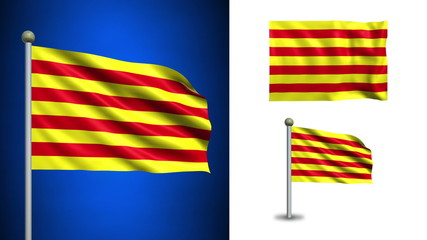 Catalonia flag - with Alpha channel, seamless loop!