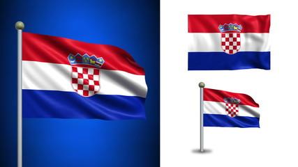 Croatia flag - with Alpha channel, seamless loop!