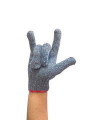 worker gloved hand with finger up for love symbol
