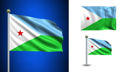 Djibouti flag - with Alpha channel, seamless loop!