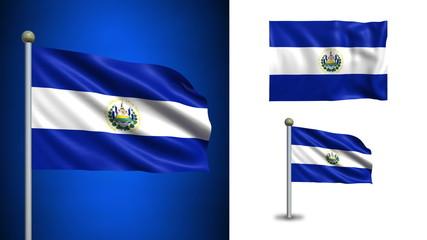 El Salvador flag - with Alpha channel, seamless loop!