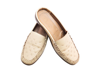 leather lady shoe beige color