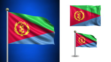 Eritrera flag - with Alpha channel, seamless loop!