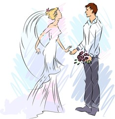 Sketch of bride and groom