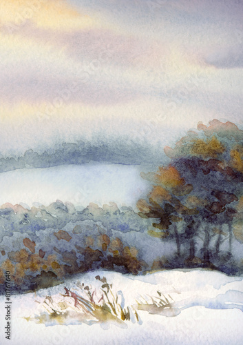 Watercolor winter landscape. Trees on the hill - 81767640