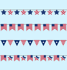 Hanging Bunting pennants for Independence Day USA, Patriotic Sym